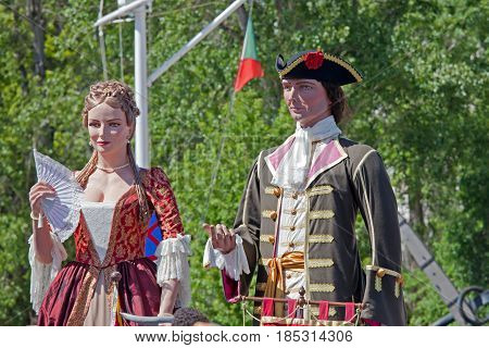 Lisbon Portugal - May 6 2017: Parade of costumes and traditional masks of Iberia at the XII International Festival of Iberian Masks