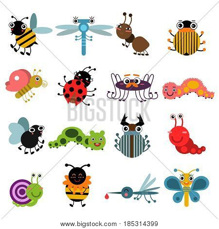 Cartoon bugs and insects. Vector illustration set isolate on white background. Insects collection bee and butterfly, characters spider and ant insects