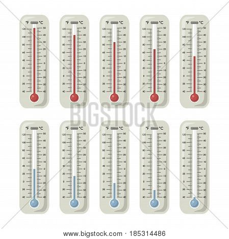 Thermometers with different temperature on them. Vector illustration. Set of thermometer measurement, degree thermometer for meteorology fahrenheit and celsius