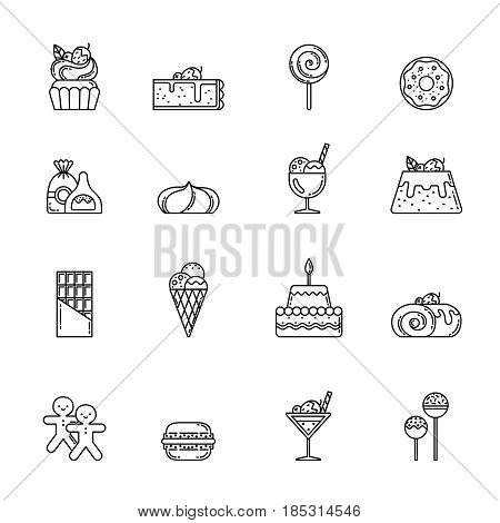 Desert vector icon set. Cupcake, sweets and other baking foods. Outline illustrations isolate on white background. Sweet food cupcake with cream, bakery ans sweet cake linear