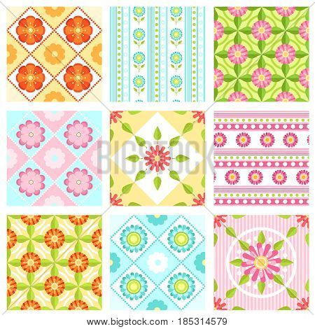 Set of floral seamless pattern with different flowers and leaves. Vector backgrounds in flat style. Background seamless flowers, illustration of floral flower pattern collection