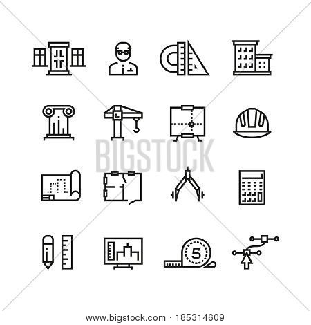 Architecture, building planning, house construction line vector icons set. Architecture line building, illustration of graphic plan building
