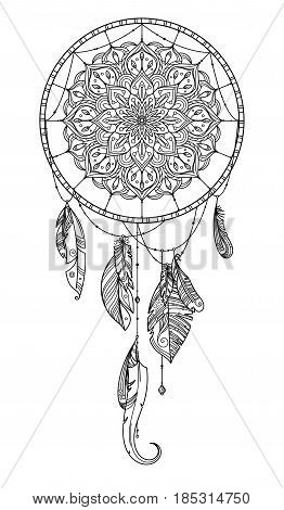 Hand drawn dreamcatcher with feather of birds. Vector illustration. Dreamcatcher with feather design, indian decoration hanging dreamcatcher