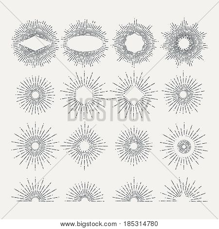 Sunburst illustrations set. Circle shapes design elements. Vector pictures. Linear radial vintage sunburst, set of drawing starburst