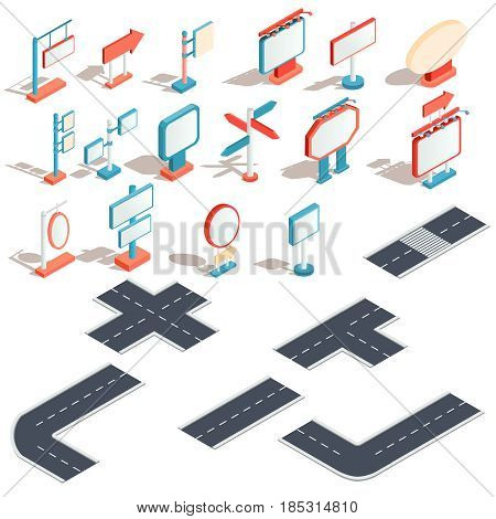 Set of vector isometric illustrations, icons of billboards, advertising banners, road signs, direction signs with different lengths of road