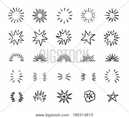 Elegant ink brush circle bursts and whimsical borders. Hand drawn bursting vector decoration. Starburst badge icon, illustration of star burst linear of set