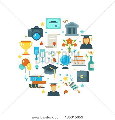 Graduation day and learning vector concept with graduate party icons. Graduation university and illustration of graduation college