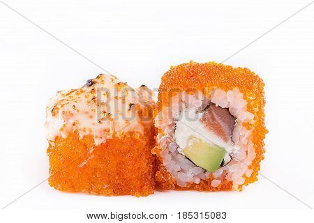 Japanese Cuisine, Sushi Set: Sushi And Sushi Rolls In Caviar With Salmon, Cheese And Avocado On A Wh