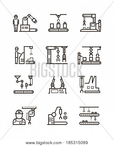 Robotic manufacturing assembly lines and automatic conveyor with manipulators line vector icons. Automatic production machine in work process, illustration of factory machine manufacturing