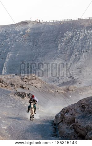 East Java,indonesia-may 05 : Horseman At Mount Bromo, The Active Volcano Is One Of The Most Visited