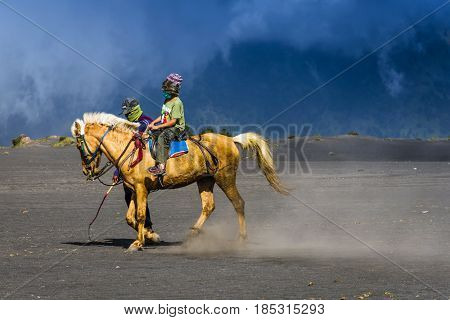 East Java,indonesia-may 05 : Tourists Ride The Horse At Mount Bromo, The Active Volcano Is One Of Th