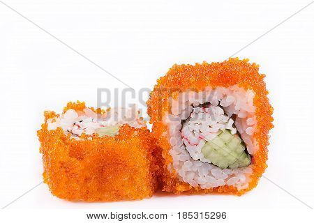 Japanese Cuisine, Sushi Set: Sushi And Sushi Rolls In Caviar With Cucumber And Crab Meat On A White