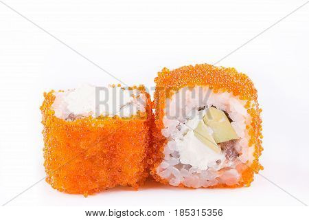 Japanese Cuisine, Sushi Set: Sushi And Sushi Rolls In Caviar With Avocado And Cheese On A White Back
