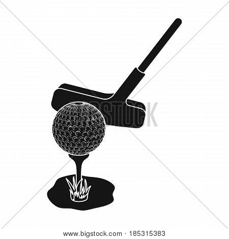 Ball and putter for golf.Golf club single icon in black style vector symbol stock illustration .