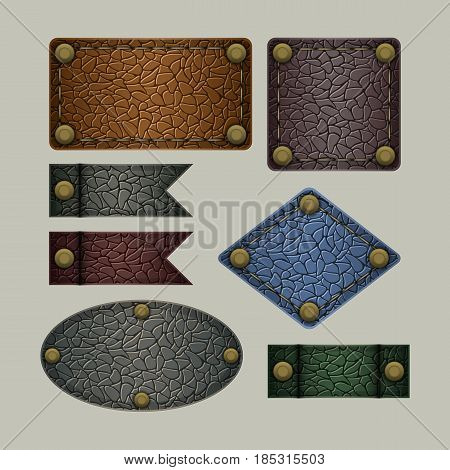 Labels of Different Color and Form on a Light Background. Set Stylized as Leather of Objects.