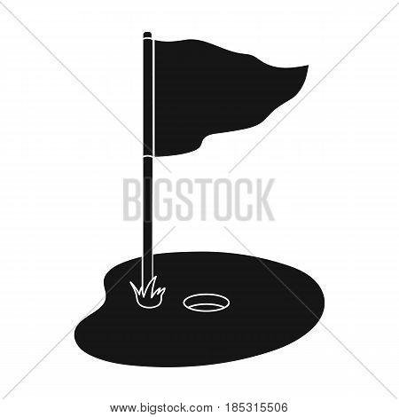 Flag and golf course.Golf club single icon in black style vector symbol stock illustration .