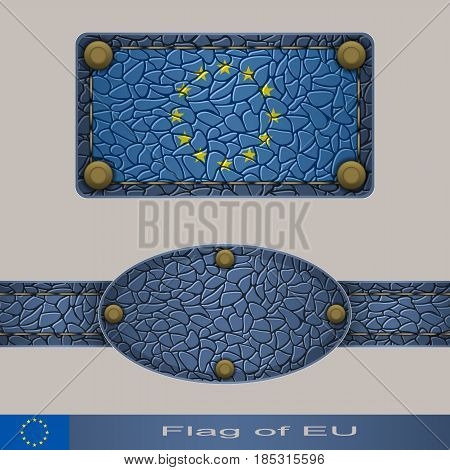 Label of a flag of European Union. Set stylized as leather of objects.