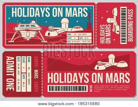 Travel voucher vector ticket. Holiday on Mars promo action. Ticket to mars planet, illustration of ticket voucher travel