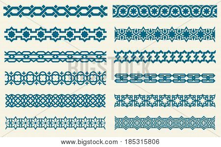Islamic ornaments link seamless vector decorative borders. Set of border pattern in islamic style, illustration of ornament borders