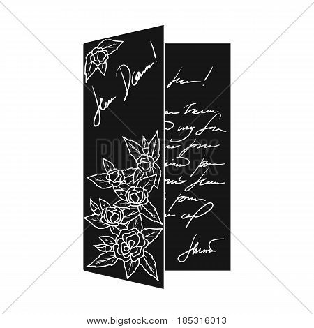 Greeting card.Mail and postman single icon in black style vector symbol stock illustration .