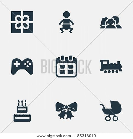 Vector Illustration Set Of Simple Celebration Icons. Elements Confectionery, Game, Resonate And Other Synonyms Train, Jingle And Stroller.
