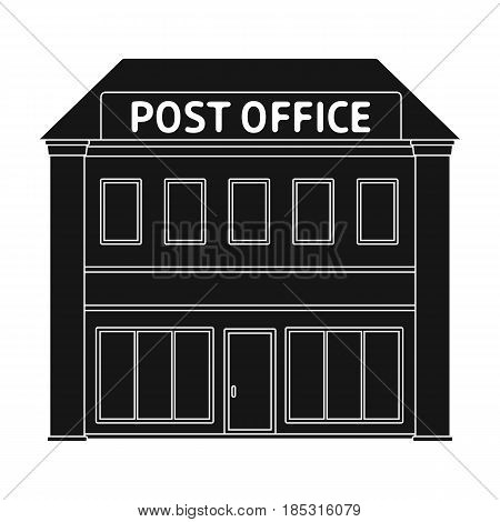 Post office.Mail and postman single icon in black style vector symbol stock illustration .