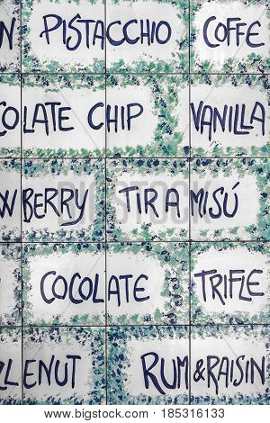 Ceramic tiles with a menu of Italian delicacies to convey a concept of food