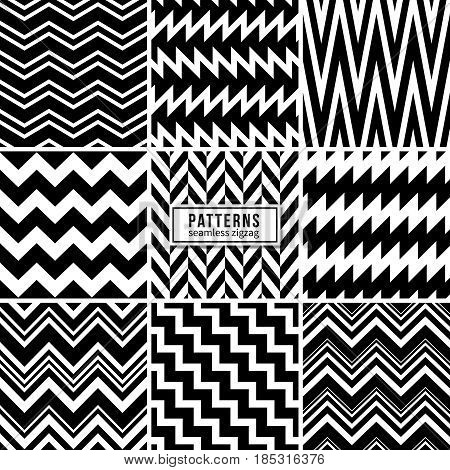 Zigzag vector patterns. Black and white regular striped geometric textures. Zig zag structure style white black, fashion set of zigzag pattern illustration