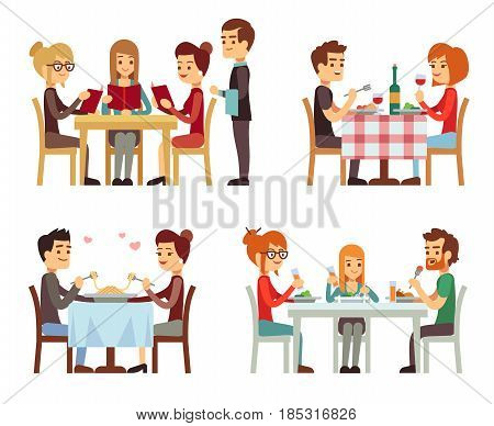 People in restaurant eating dinner vector flat concepts. Family in restaurant, illustration of romantic date in restaurant
