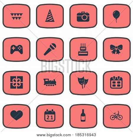 Vector Illustration Set Of Simple Celebration Icons. Elements Camera, Box, Aerostat And Other Synonyms Sky, Resonate And Cap.