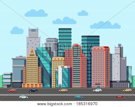City buildings panorama. Urban architecture vector cityscape background. Architecture buildings cityscape, illustration of urban buisness building district