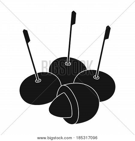 Olive with a stone on a stick.Olives single icon in black style vector symbol stock illustration .