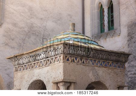 Close up of a detail of Villa Cimbrone in the Amalfi Coast to understand a concept of tourism and culture