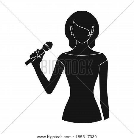 Singer.Professions single icon in black style vector symbol stock illustration .