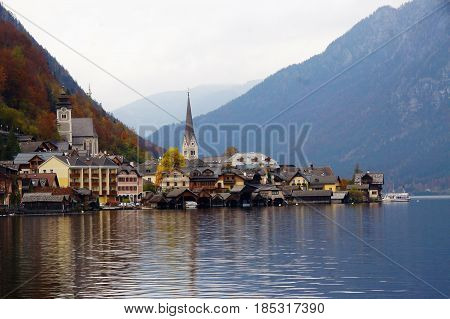 Beautiful landscape view of Hallstatt village,  Salzkammergut region, Austria