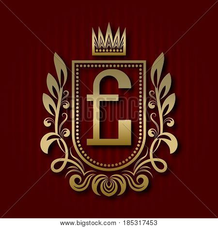 Golden royal coat of arms in medieval style. Vintage logo with E monogram.