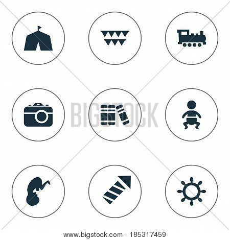 Vector Illustration Set Of Simple Kid Icons. Elements Festival, Fetus, Bookshop And Other Synonyms Library, Unborn And Train.