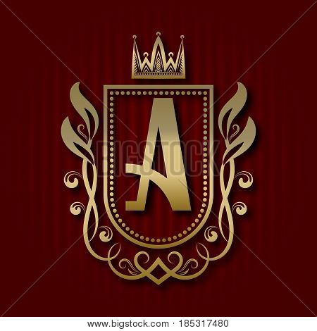 Golden royal coat of arms in medieval style. Vintage logo with A monogram.