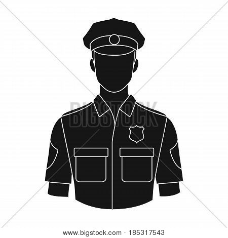 Policeman.Professions single icon in black style vector symbol stock illustration .