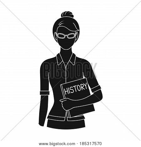Teacher.Professions single icon in black style vector symbol stock illustration .