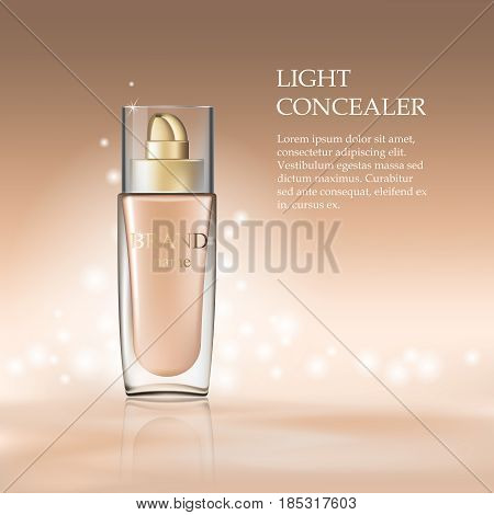 Cosmetic product concealer cram in glass bottle container Template. Makeup mockup for ads or magazine whith liquid foundation. 3D Realistic Vector Iillustration.