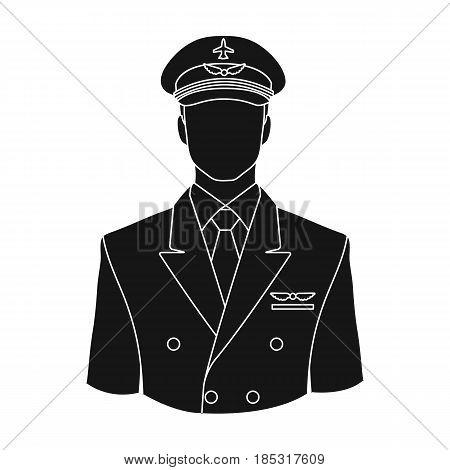 Pilot.Professions single icon in black style vector symbol stock illustration .