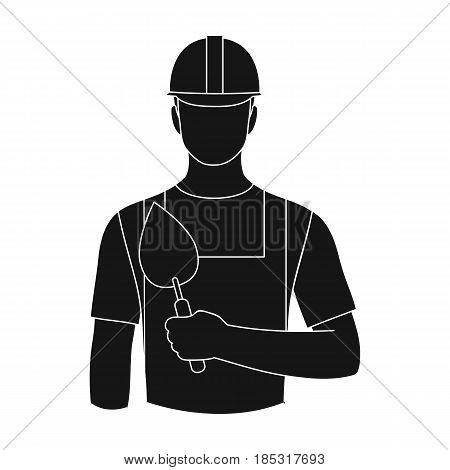 Builder mason.Professions single icon in black style vector symbol stock illustration .