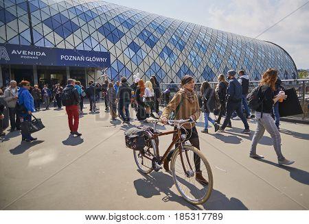 Poznan, Poland - April 29 2017: Bus And Train Station On 29 Apri