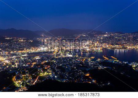 Japanese Nagasaki skyline at night