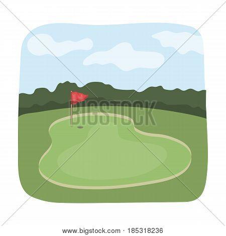 Golf course.Golf club single icon in cartoon style vector symbol stock illustration .