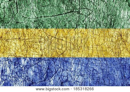Grudge stone painted Gabon flag close up
