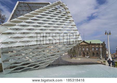 Poznan, Poland - April 29 2017: Fountain Of Freedom On 29 April