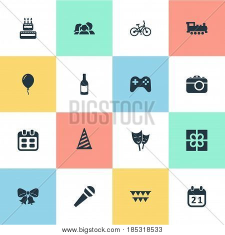Vector Illustration Set Of Simple Birthday Icons. Elements Box, Confectionery, Resonate And Other Synonyms Photo, Mask And Bicycle.