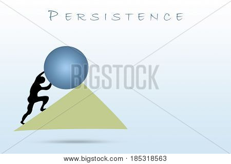 Design of a man pushing a big boulder to connote a concept of strength and persistence